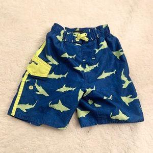 Old Navy | Shark Print 3T Swim Trunk Blue Yellow